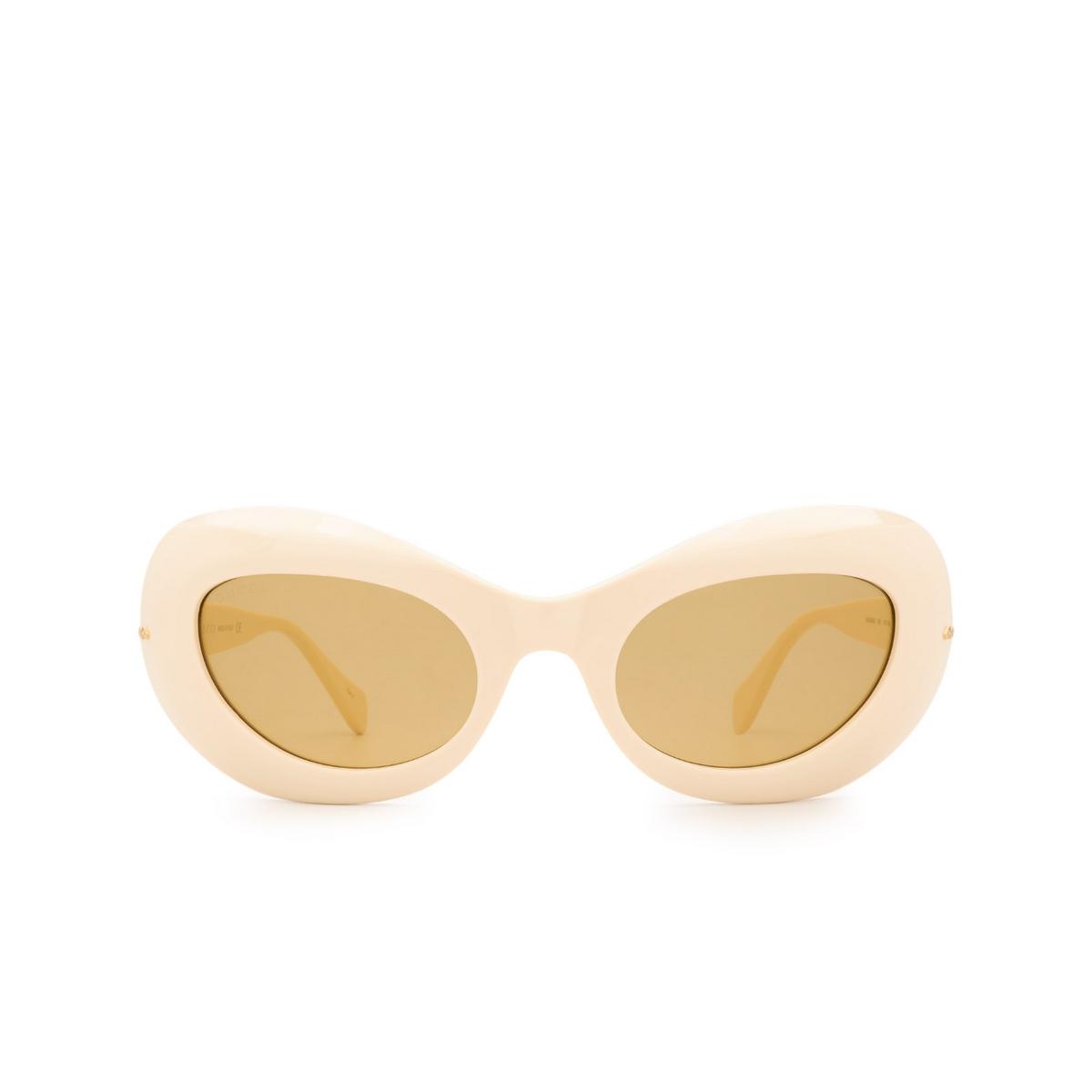 Gucci® Oval Sunglasses: GG0990S color White 001 - front view.