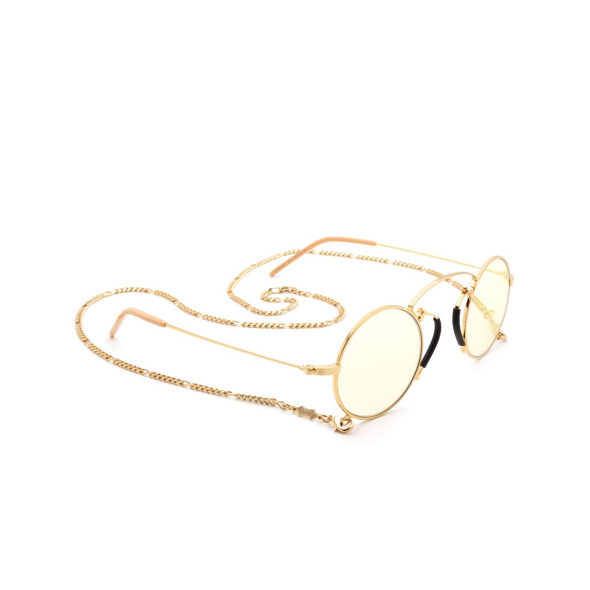 Gucci® Round Sunglasses: GG0991S color Gold 001.