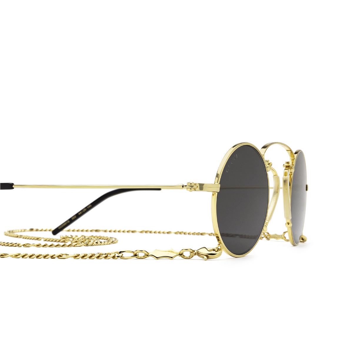 Gucci® Round Sunglasses: GG0991S color Gold 002 - 3/3.
