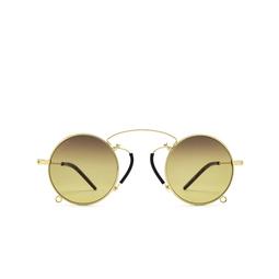 Gucci® Round Sunglasses: GG0991S color Gold 003.