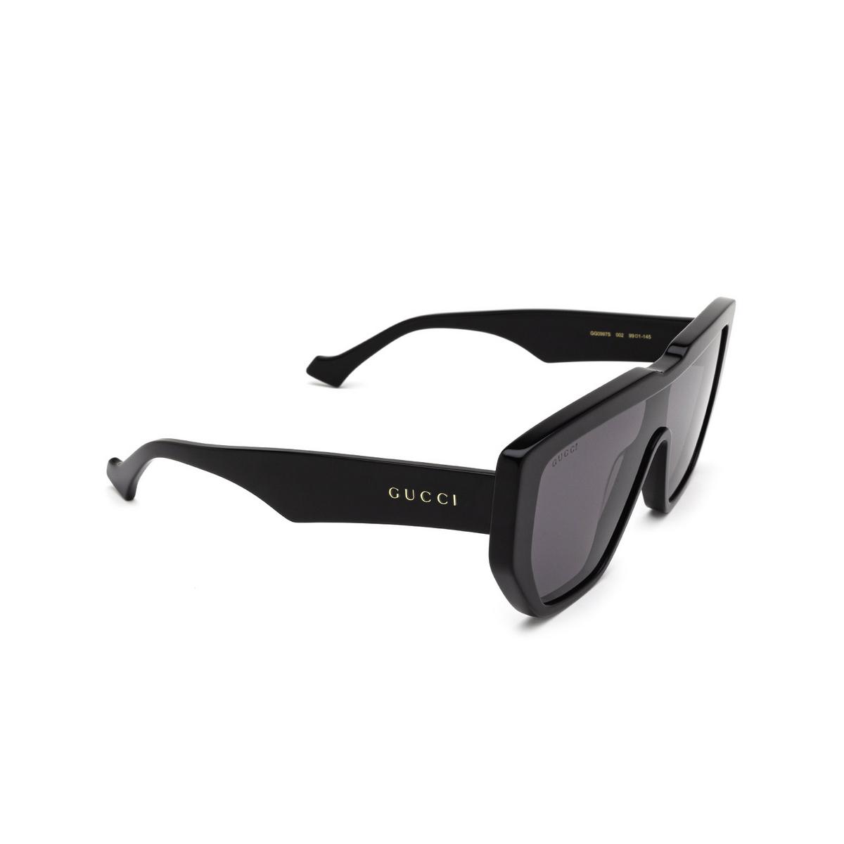 Gucci® Mask Sunglasses: GG0997S color Black 002 - three-quarters view.