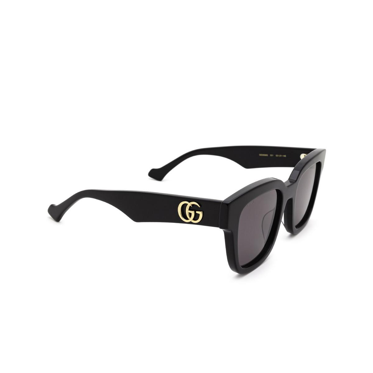 Gucci® Square Sunglasses: GG0998S color Black 001 - three-quarters view.