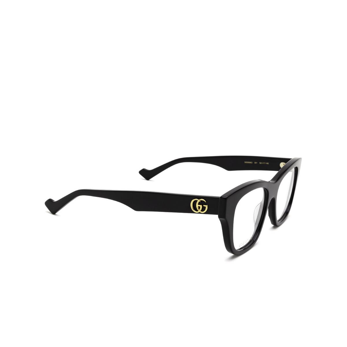 Gucci® Cat-eye Eyeglasses: GG0999O color Black 001 - three-quarters view.