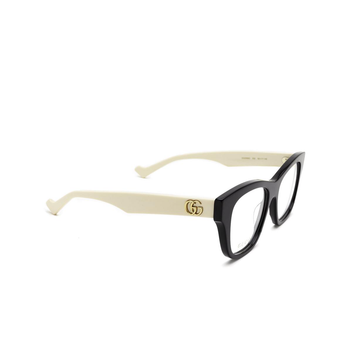 Gucci® Cat-eye Eyeglasses: GG0999O color Black 002 - three-quarters view.