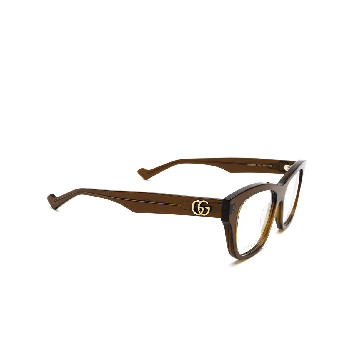 Gucci® Cat-eye Eyeglasses: GG0999O color Brown 003 - three-quarters view.