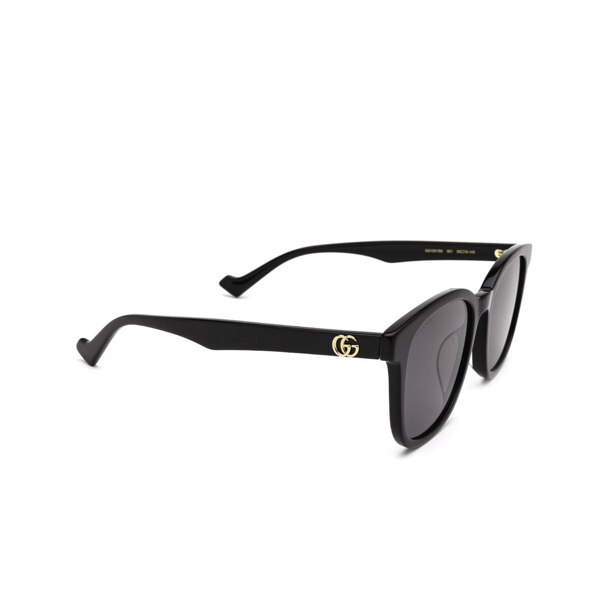 Gucci® Square Sunglasses: GG1001SK color Black 001 - three-quarters view.