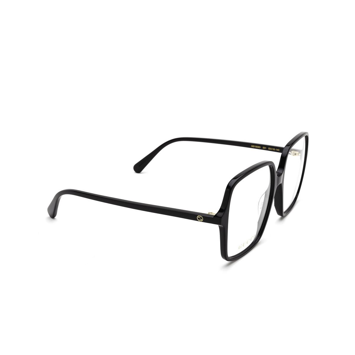 Gucci® Square Eyeglasses: GG1003O color Black 001 - three-quarters view.