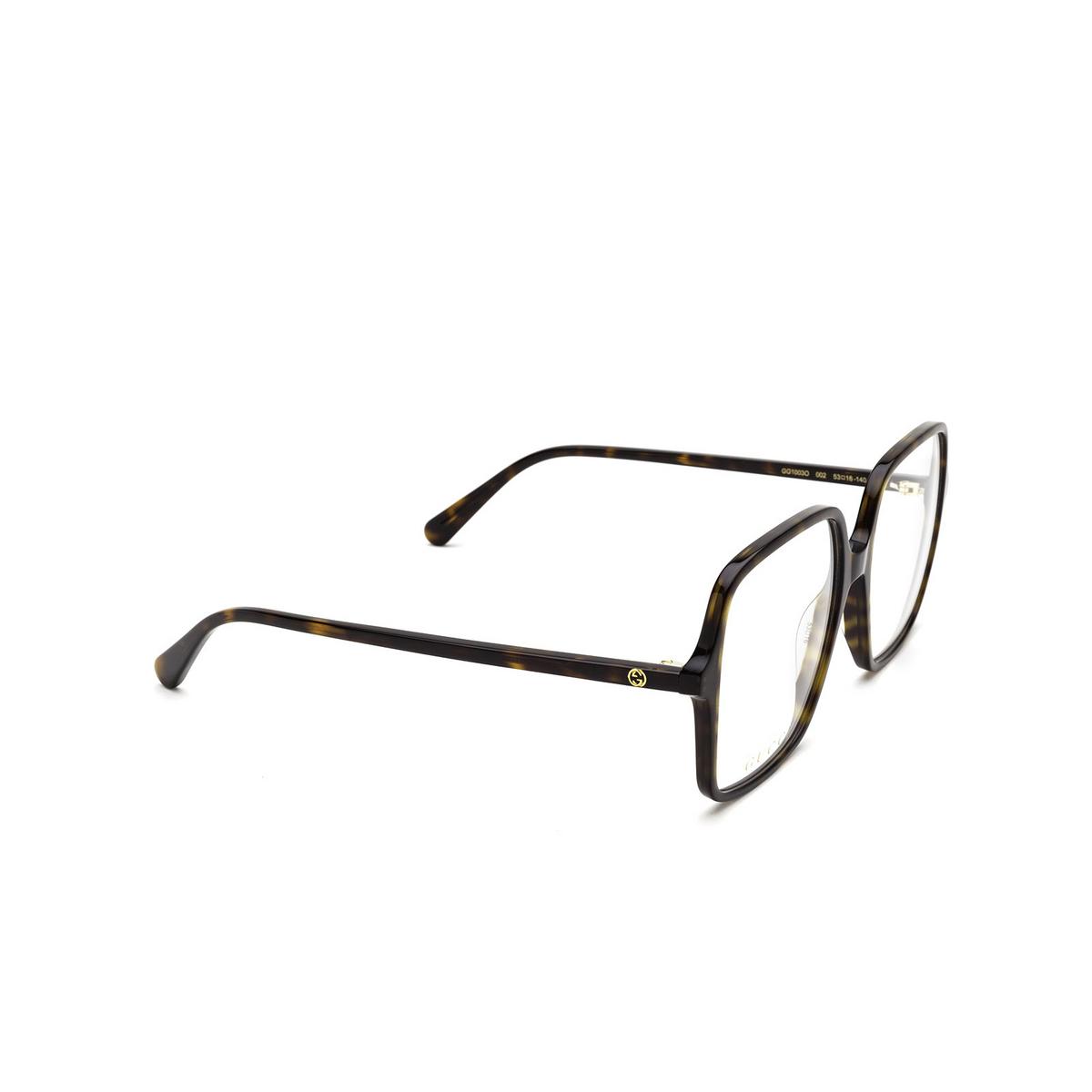 Gucci® Square Eyeglasses: GG1003O color Havana 002 - three-quarters view.