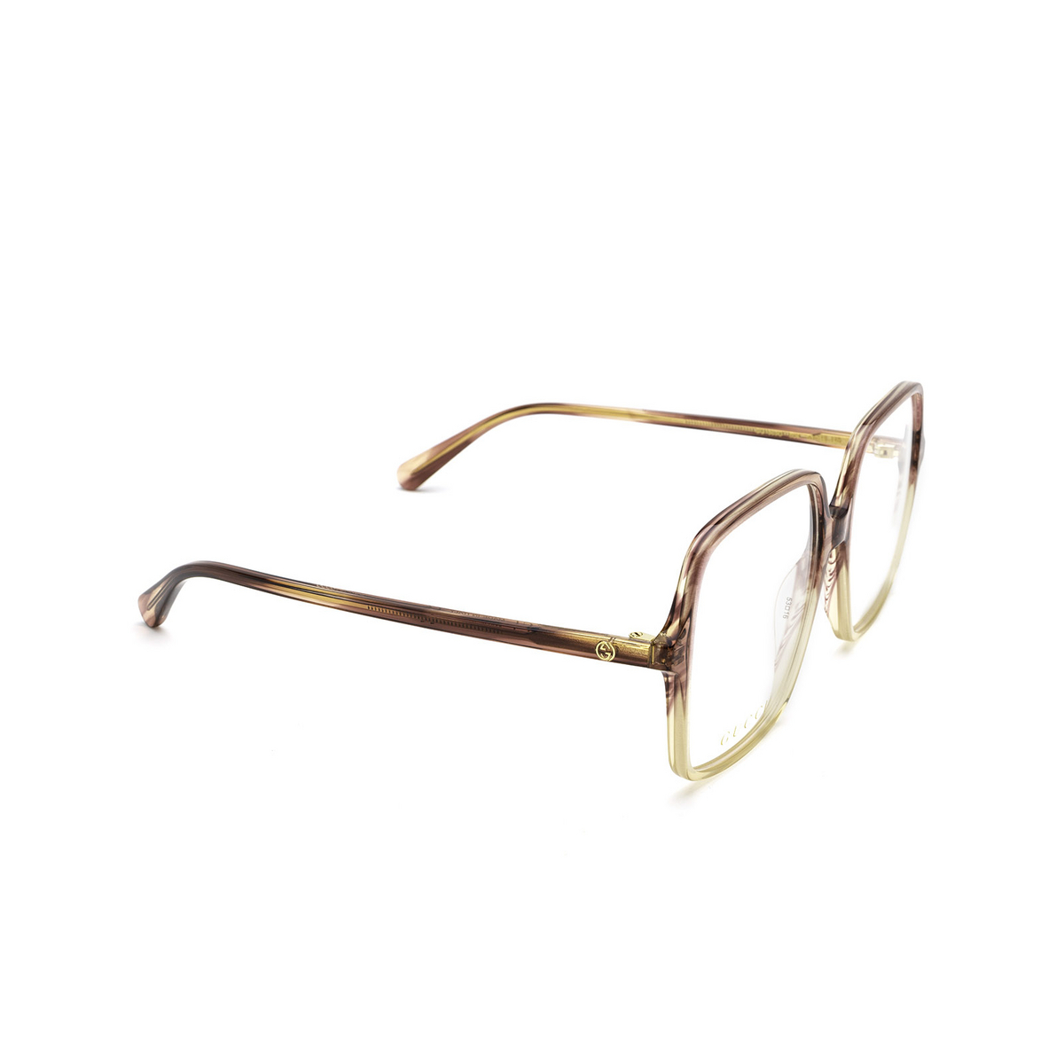 Gucci® Square Eyeglasses: GG1003O color Red Gradient 004 - three-quarters view.