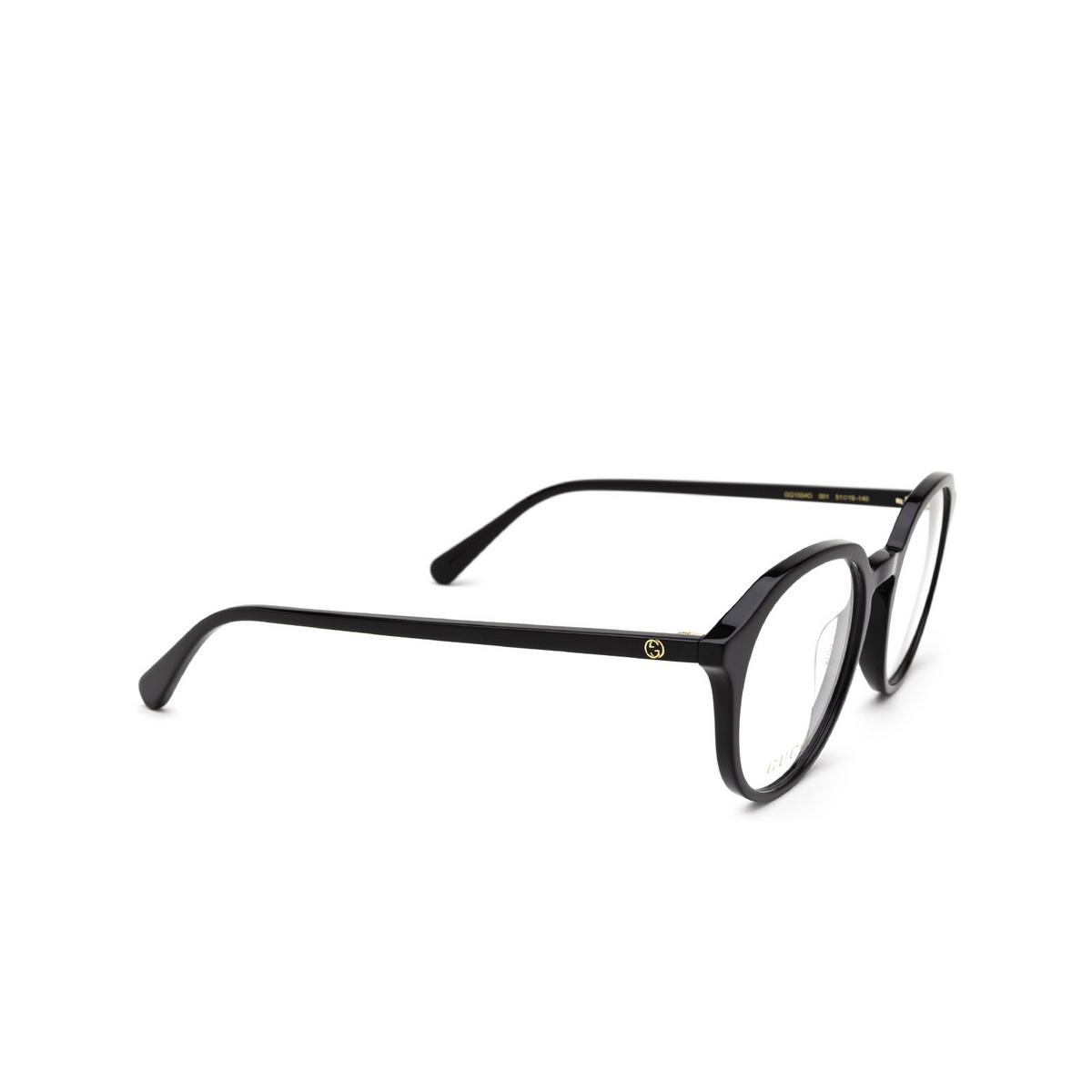 Gucci® Round Eyeglasses: GG1004O color Black 001 - three-quarters view.