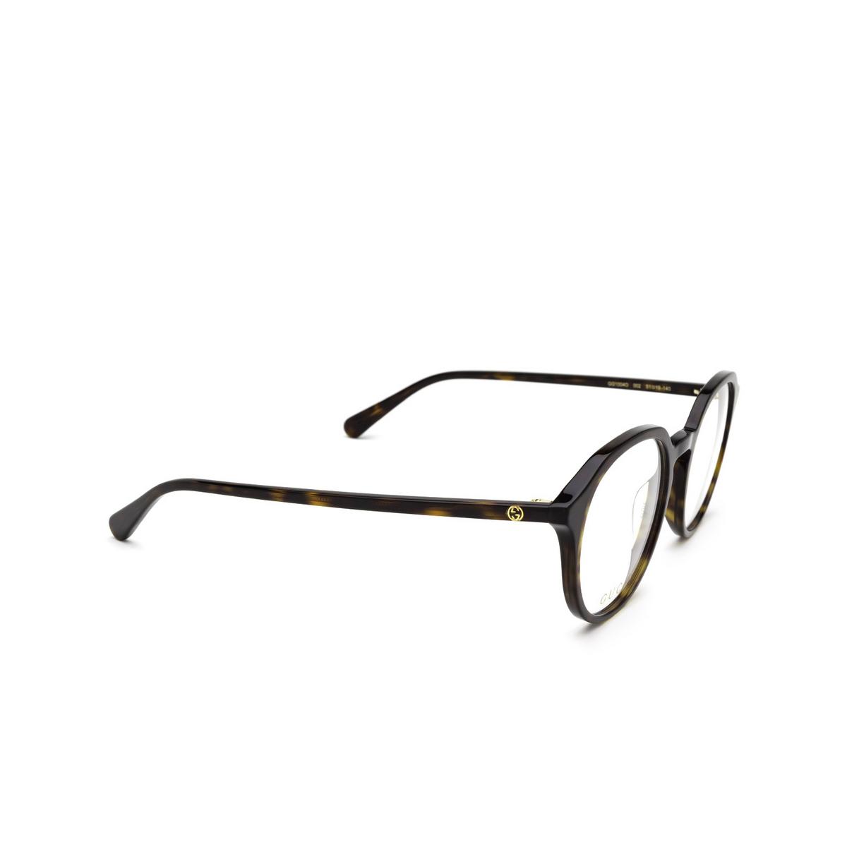 Gucci® Round Eyeglasses: GG1004O color Havana 002 - three-quarters view.