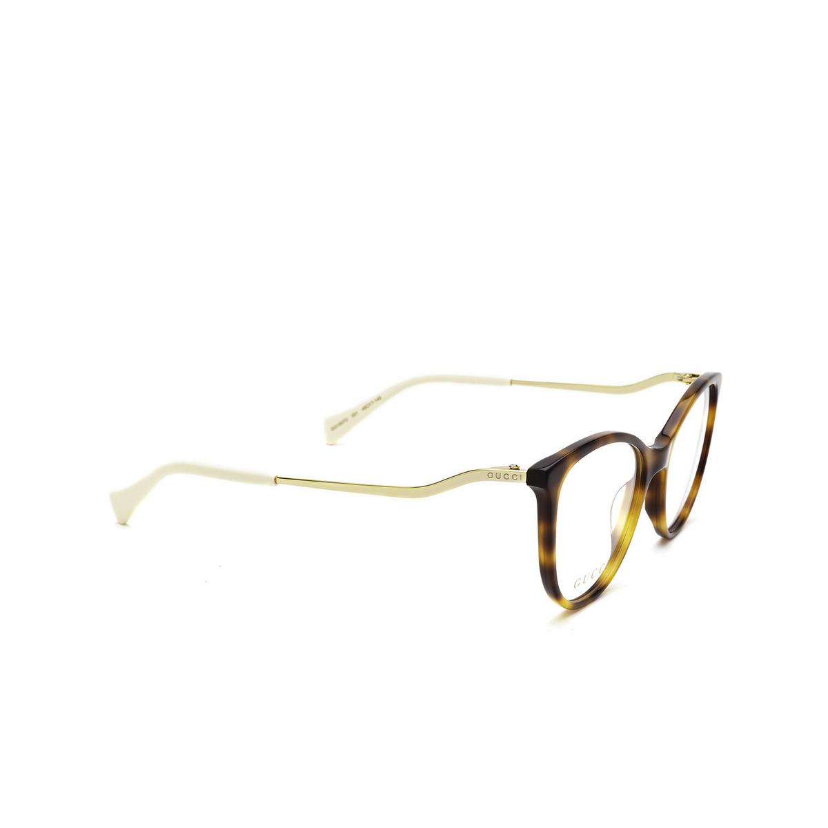 Gucci® Cat-eye Eyeglasses: GG1007O color Havana 001 - three-quarters view.