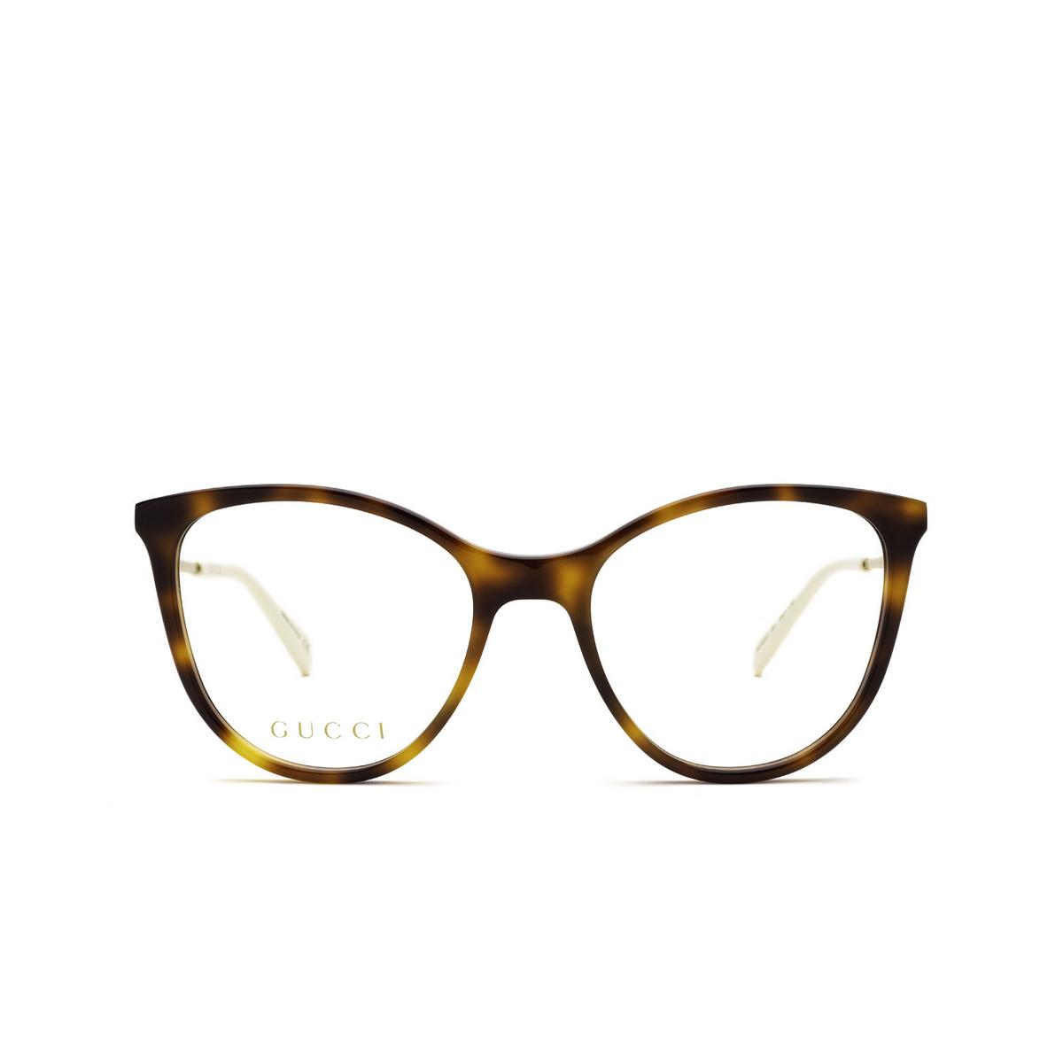 Gucci® Cat-eye Eyeglasses: GG1007O color Havana 001 - front view.