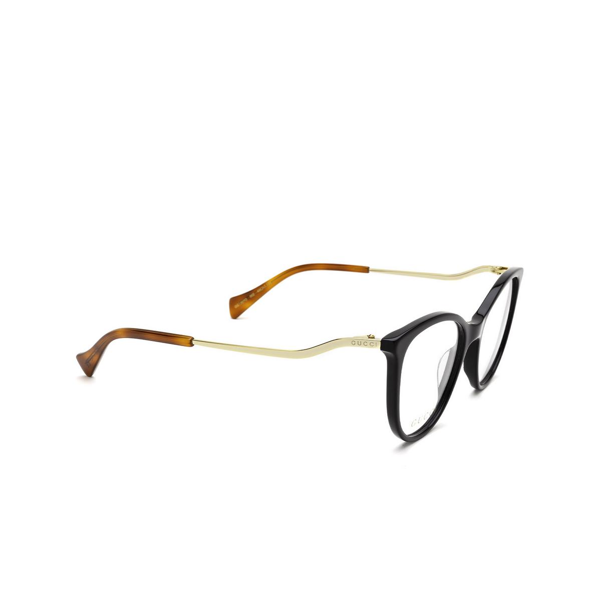 Gucci® Cat-eye Eyeglasses: GG1007O color Black 002 - three-quarters view.