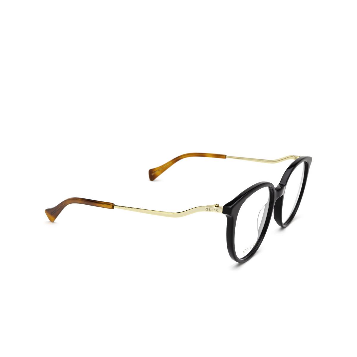 Gucci® Round Eyeglasses: GG1008O color Black 001 - three-quarters view.