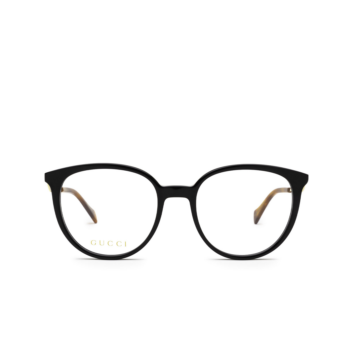 Gucci® Round Eyeglasses: GG1008O color Black 001 - front view.