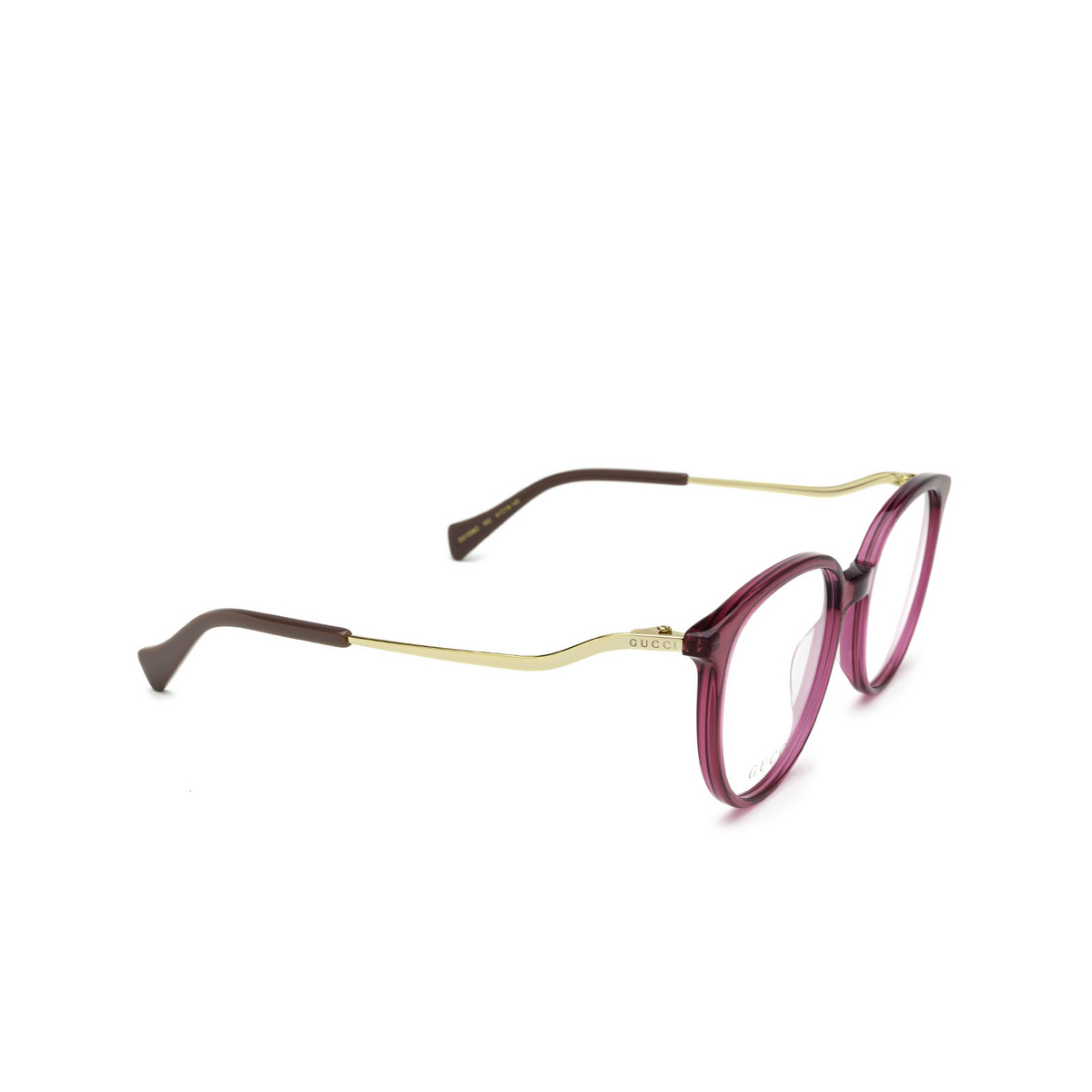 Gucci® Round Eyeglasses: GG1008O color Pink 002 - three-quarters view.