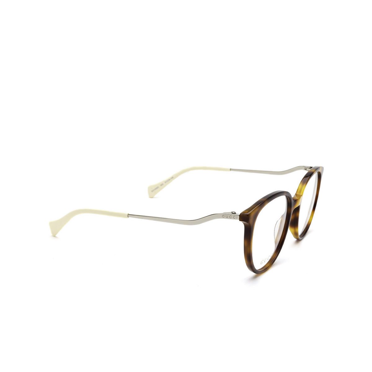 Gucci® Round Eyeglasses: GG1008O color Havana 003 - three-quarters view.