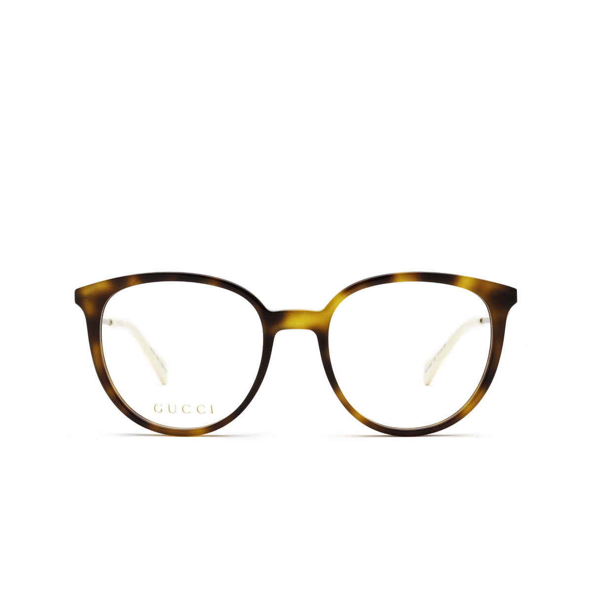 Gucci® Round Eyeglasses: GG1008O color Havana 003 - front view.