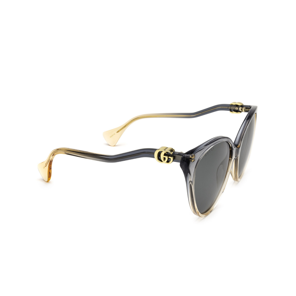 Gucci® Cat-eye Sunglasses: GG1011S color Blue & Pink 002 - three-quarters view.
