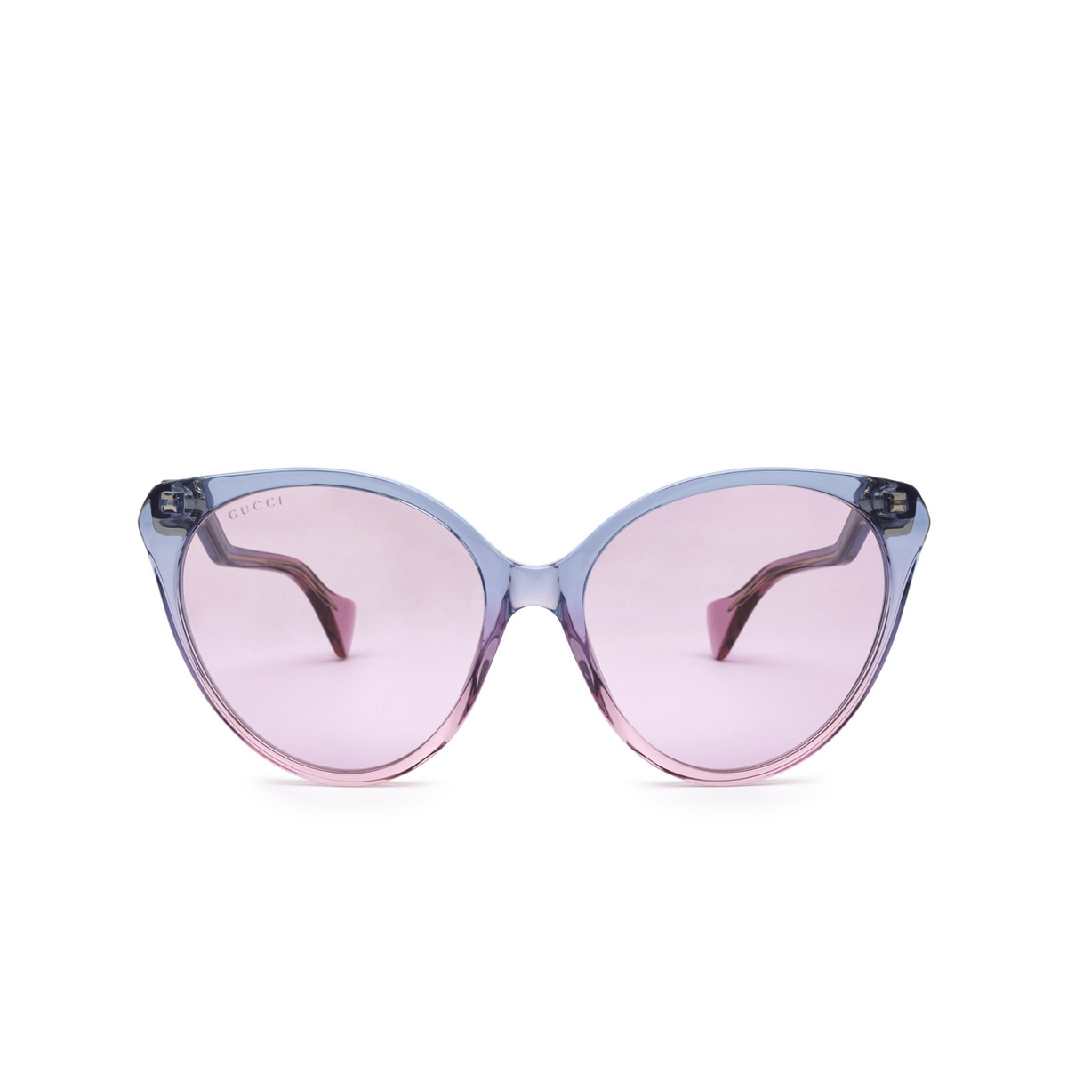 Gucci® Cat-eye Sunglasses: GG1011S color Blue & Pink 003 - front view.