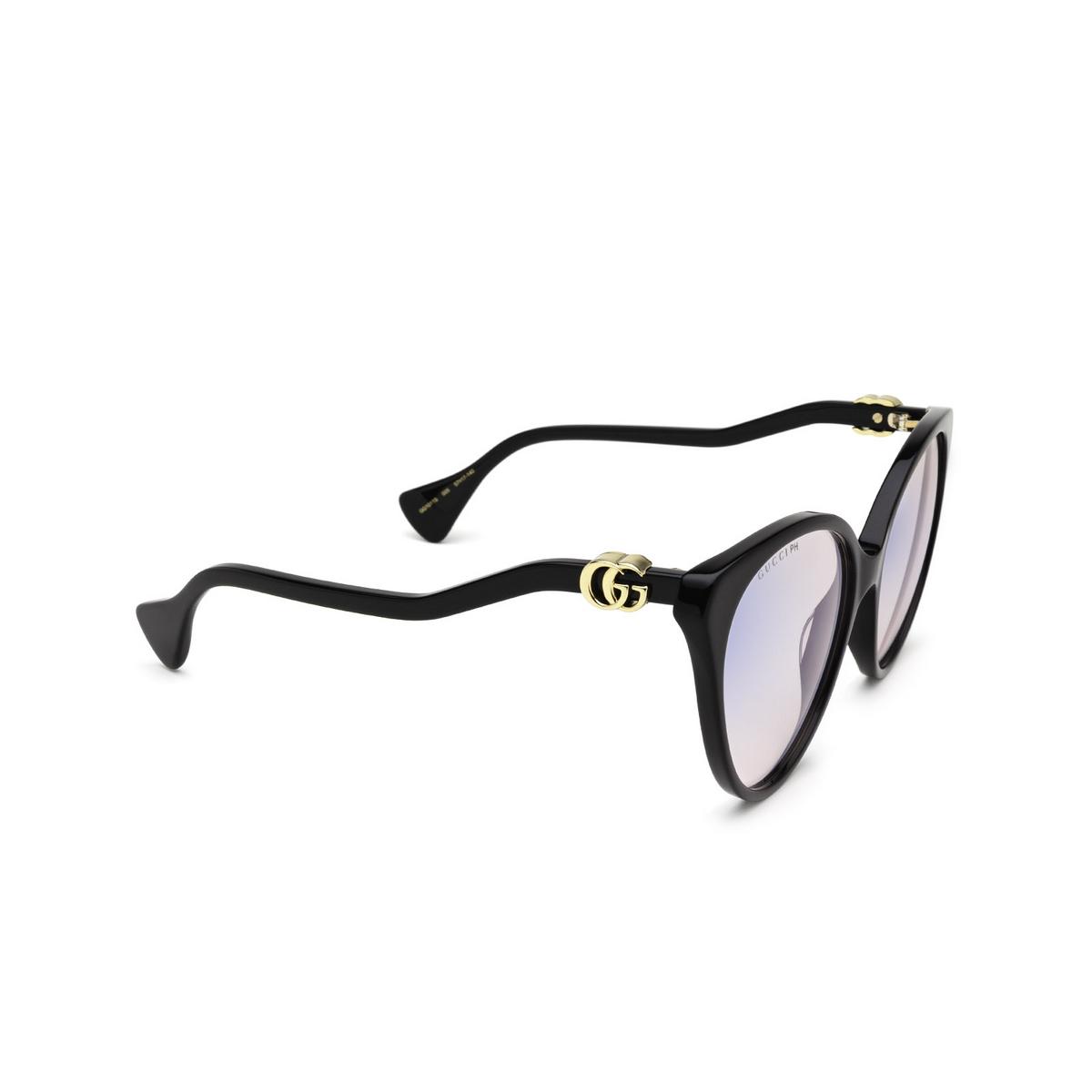 Gucci® Cat-eye Sunglasses: GG1011S color Black 005 - three-quarters view.