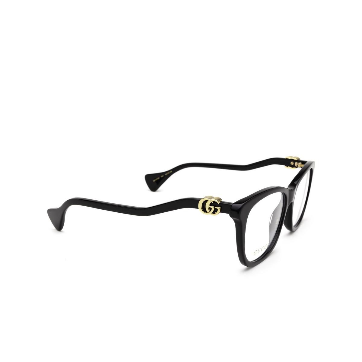 Gucci® Cat-eye Eyeglasses: GG1012O color Black 001 - three-quarters view.