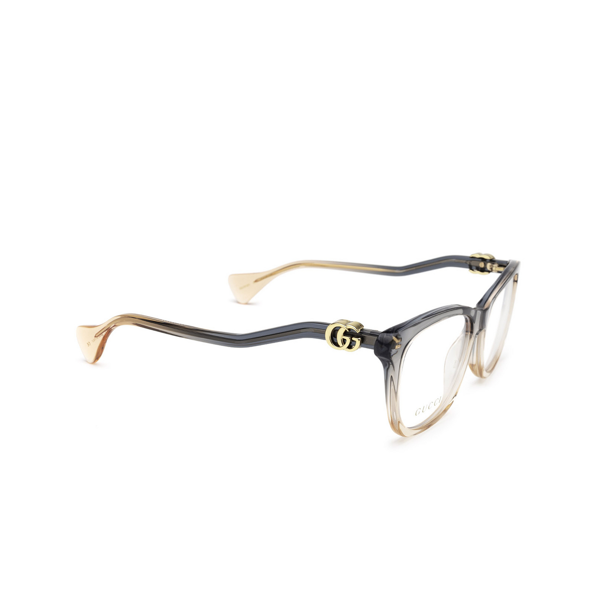 Gucci® Cat-eye Eyeglasses: GG1012O color Blue & Nude Pink 002 - three-quarters view.