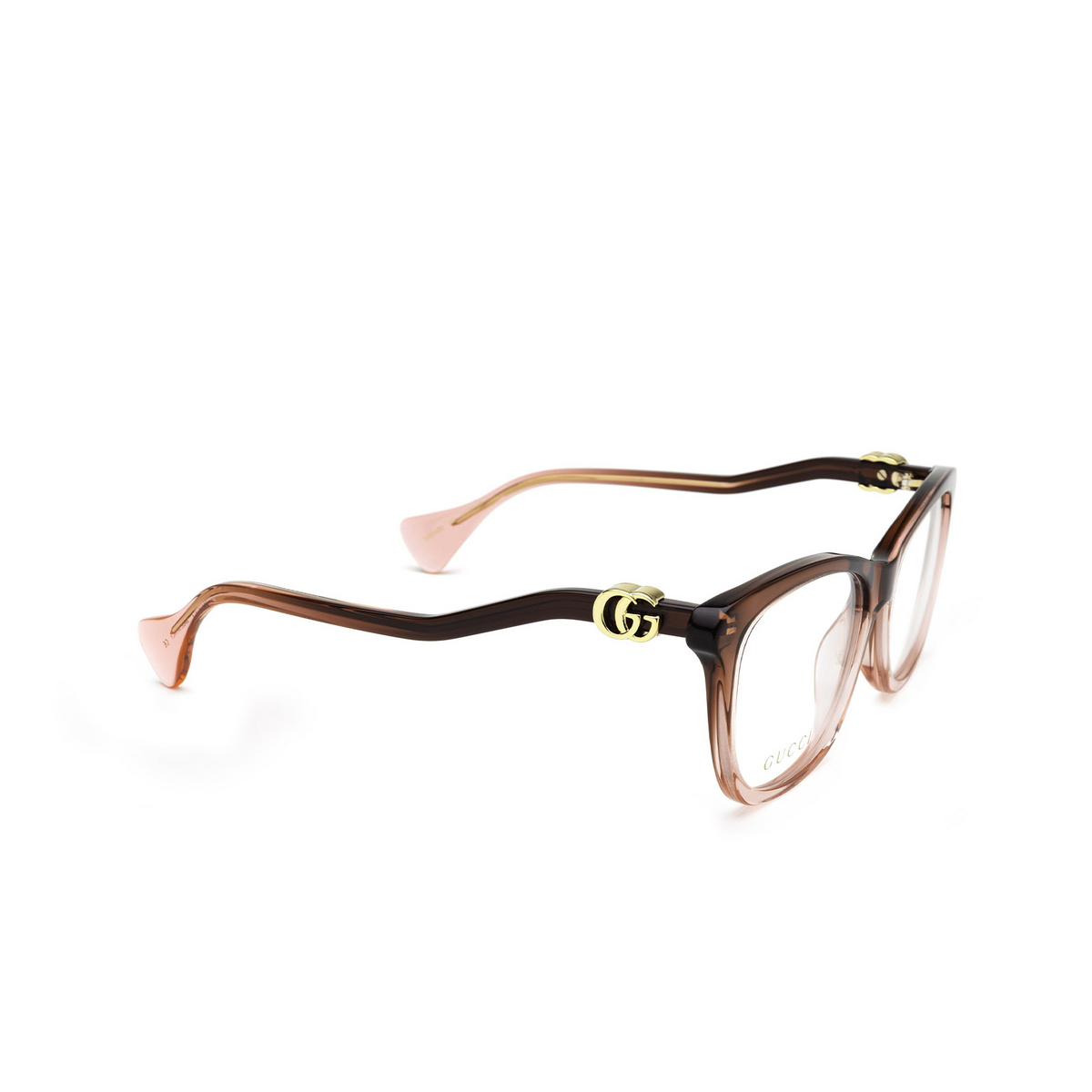 Gucci® Cat-eye Eyeglasses: GG1012O color Burgundy & Pink 003 - three-quarters view.