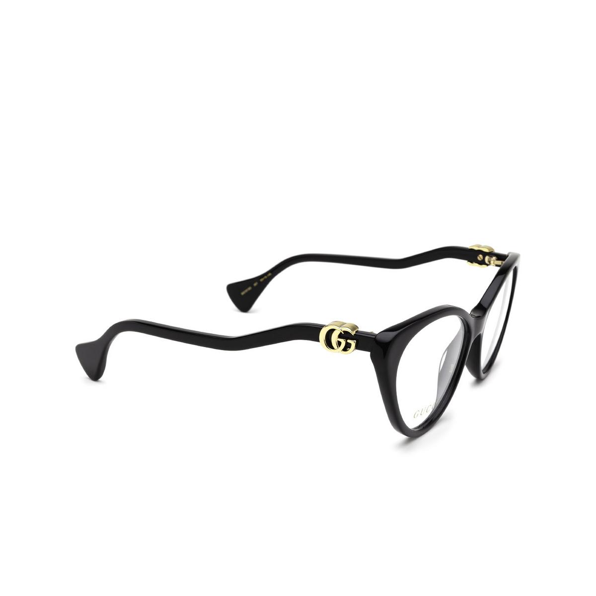 Gucci® Cat-eye Eyeglasses: GG1013O color Black 001 - three-quarters view.