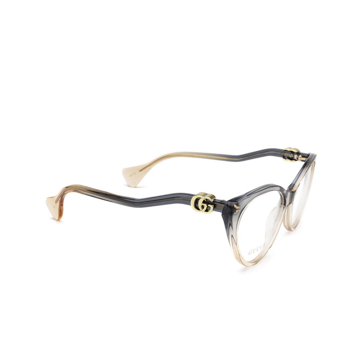 Gucci® Cat-eye Eyeglasses: GG1013O color Blue & Pink 002 - three-quarters view.