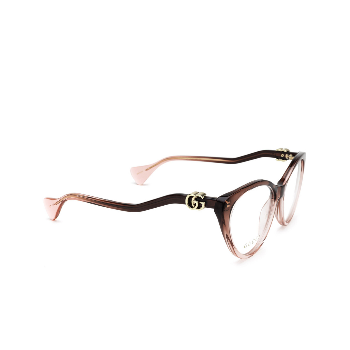 Gucci® Cat-eye Eyeglasses: GG1013O color Burgundy & Pink 003 - three-quarters view.