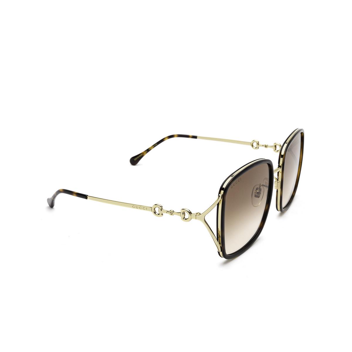Gucci® Square Sunglasses: GG1016SK color Havana 003 - three-quarters view.