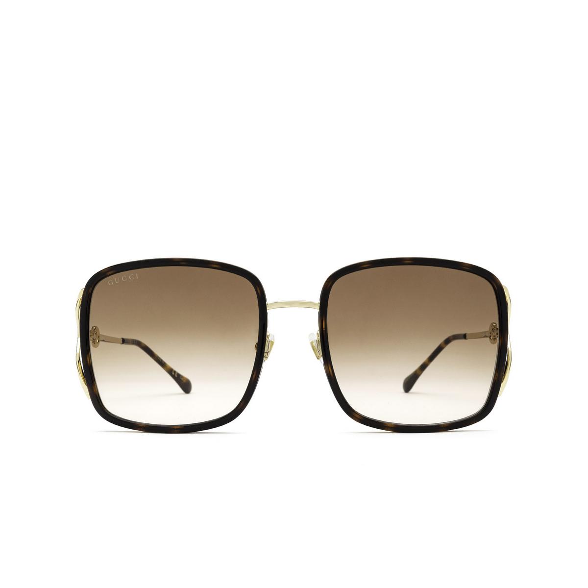 Gucci® Square Sunglasses: GG1016SK color Havana 003 - front view.