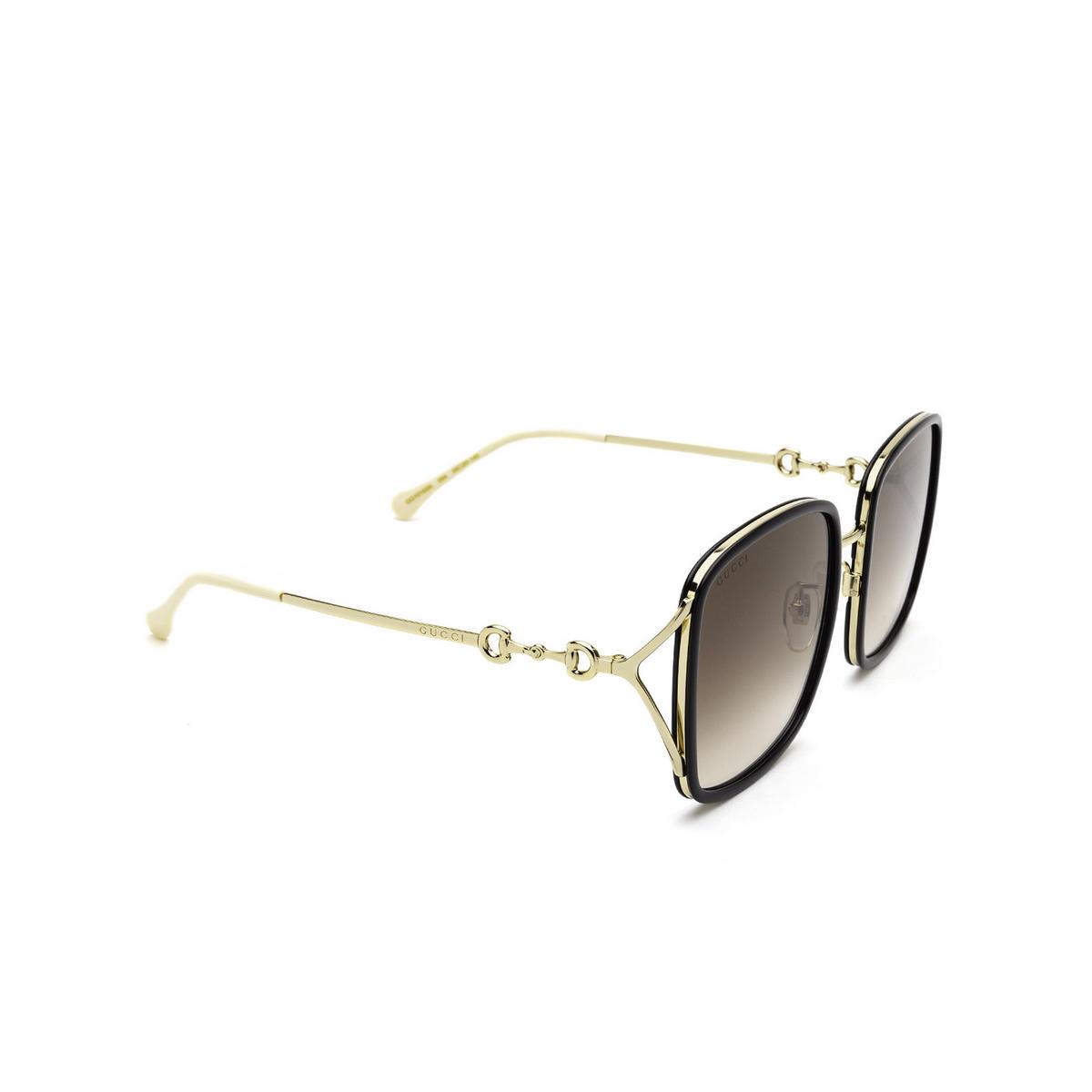 Gucci® Square Sunglasses: GG1016SK color Black 004 - three-quarters view.