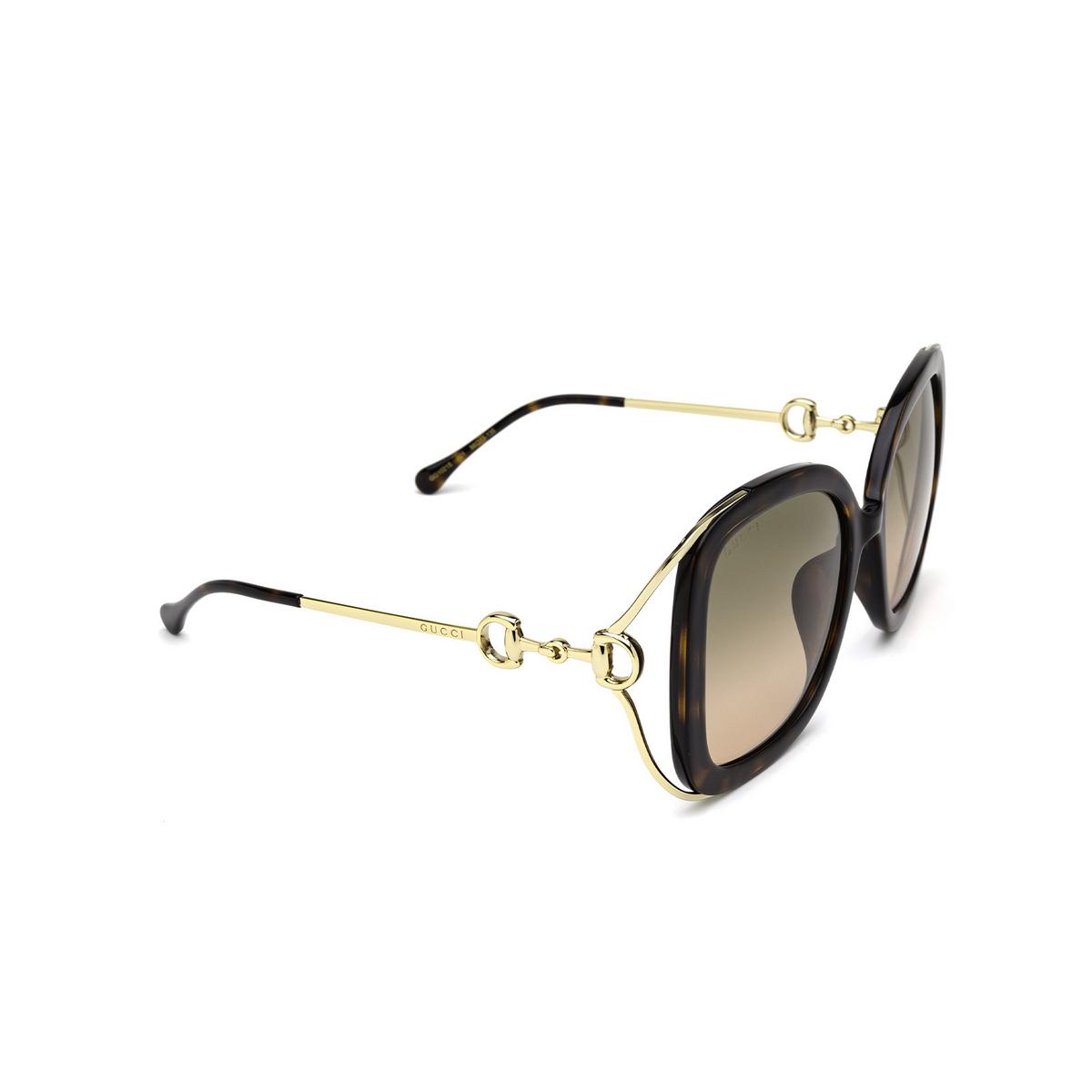 Gucci® Square Sunglasses: GG1021S color Havana 001 - three-quarters view.