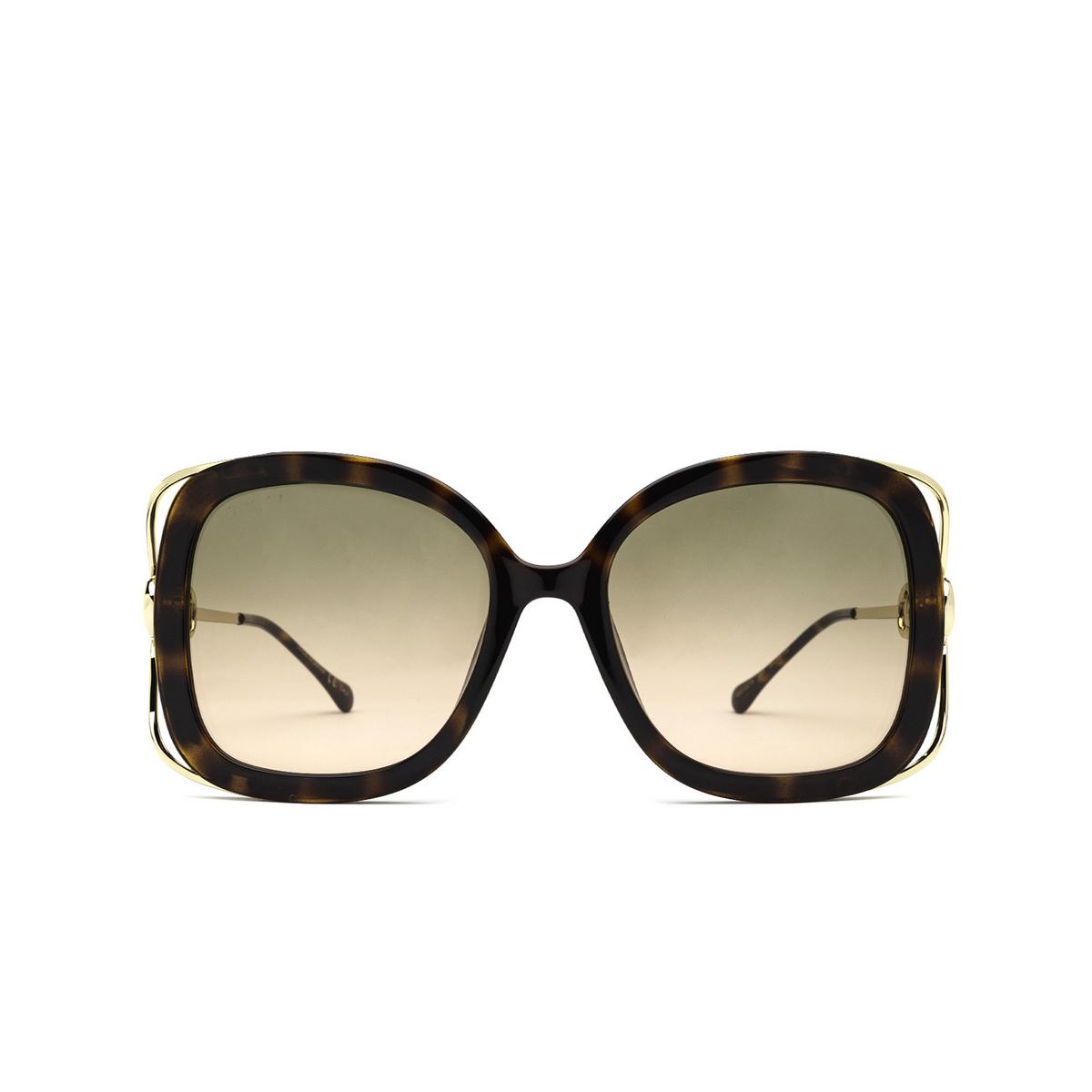 Gucci® Square Sunglasses: GG1021S color Havana 001 - front view.