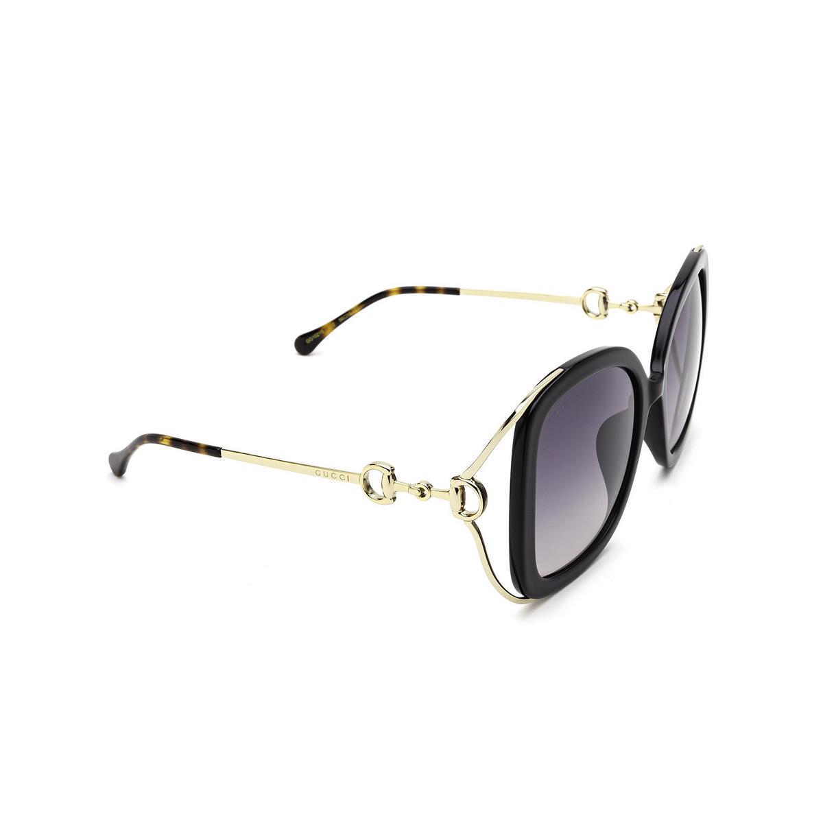 Gucci® Square Sunglasses: GG1021S color Black 002 - three-quarters view.