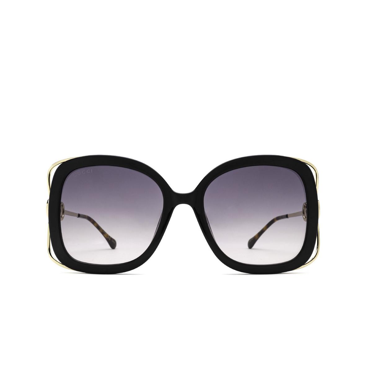 Gucci® Square Sunglasses: GG1021S color Black 002 - front view.