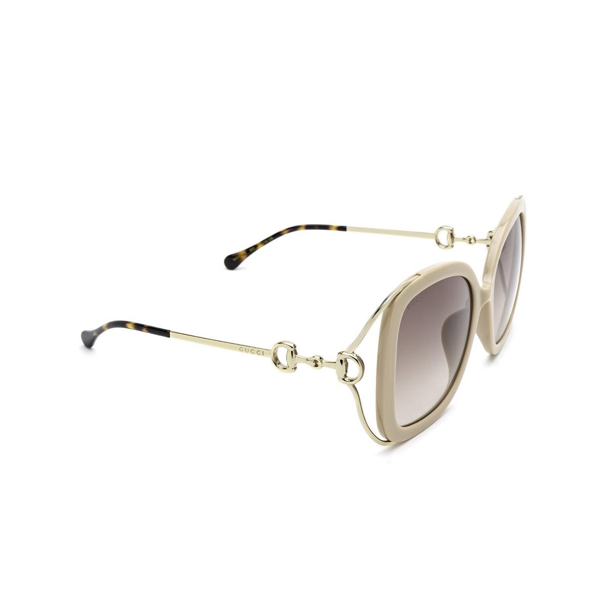 Gucci® Square Sunglasses: GG1021S color Ivory 003 - three-quarters view.
