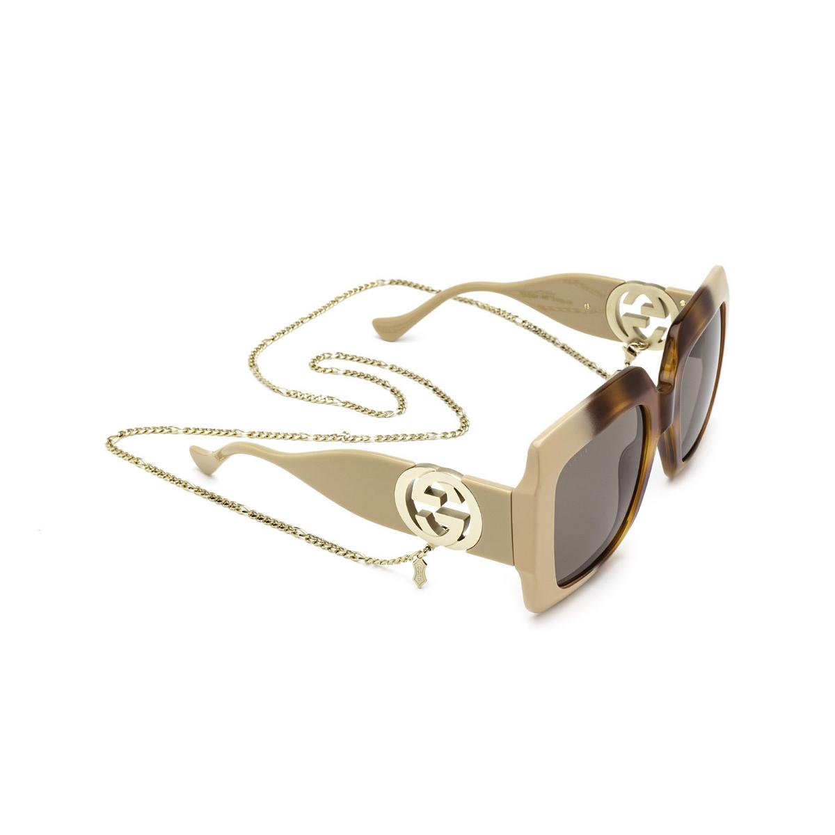 Gucci® Square Sunglasses: GG1022S color Havana Gradient 003 - three-quarters view.
