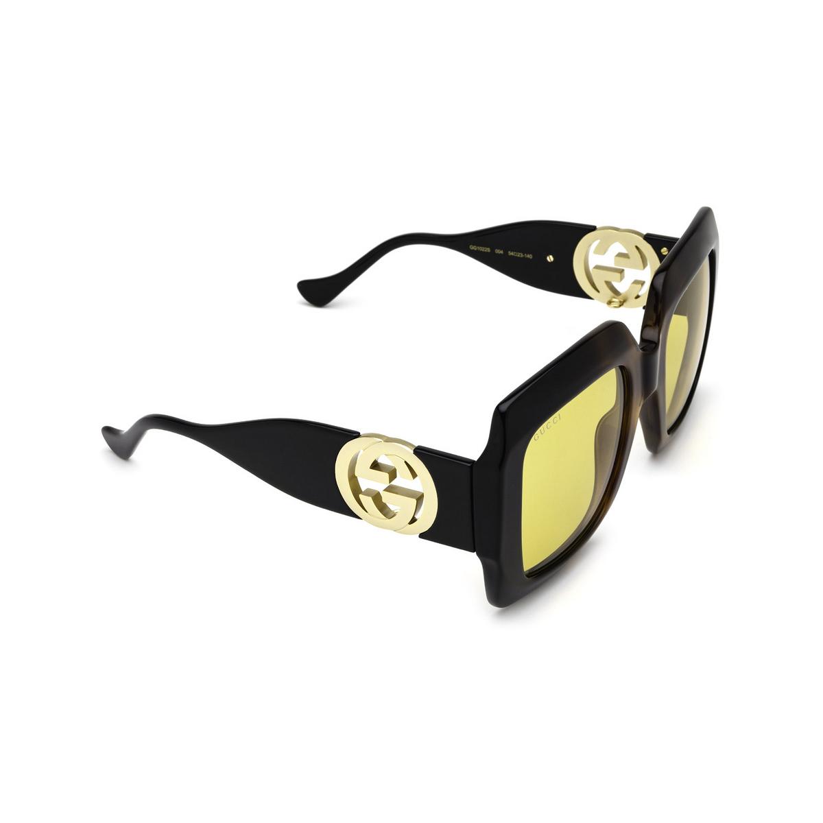 Gucci® Square Sunglasses: GG1022S color Havana & Black 004 - three-quarters view.
