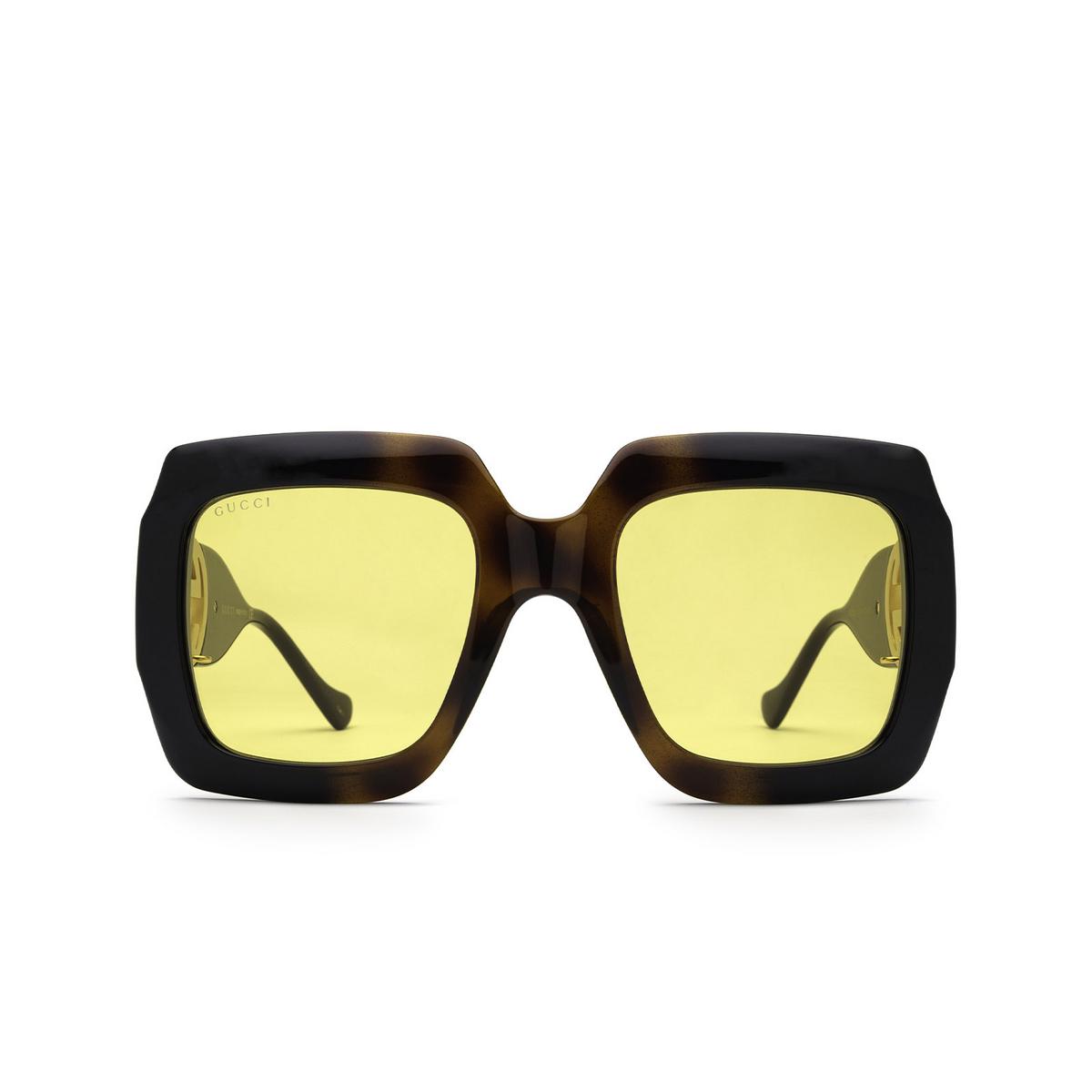 Gucci® Square Sunglasses: GG1022S color Havana & Black 004 - front view.