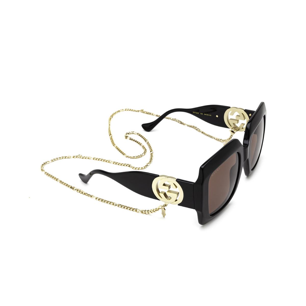 Gucci® Square Sunglasses: GG1022S color Black 005 - three-quarters view.