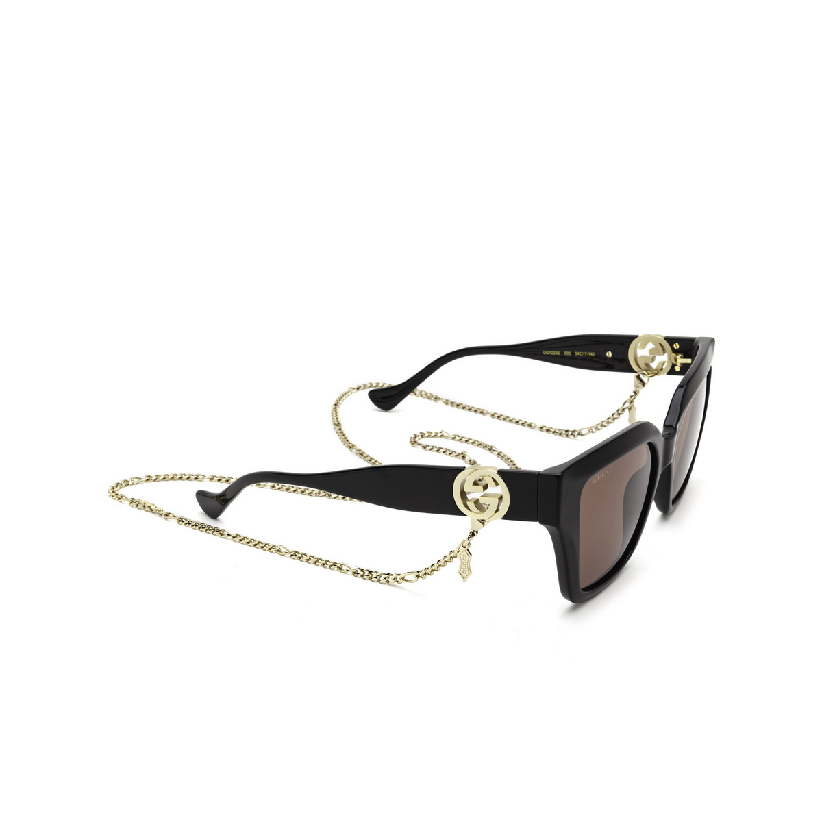 Gucci® Cat-eye Sunglasses: GG1023S color Black 005 - three-quarters view.