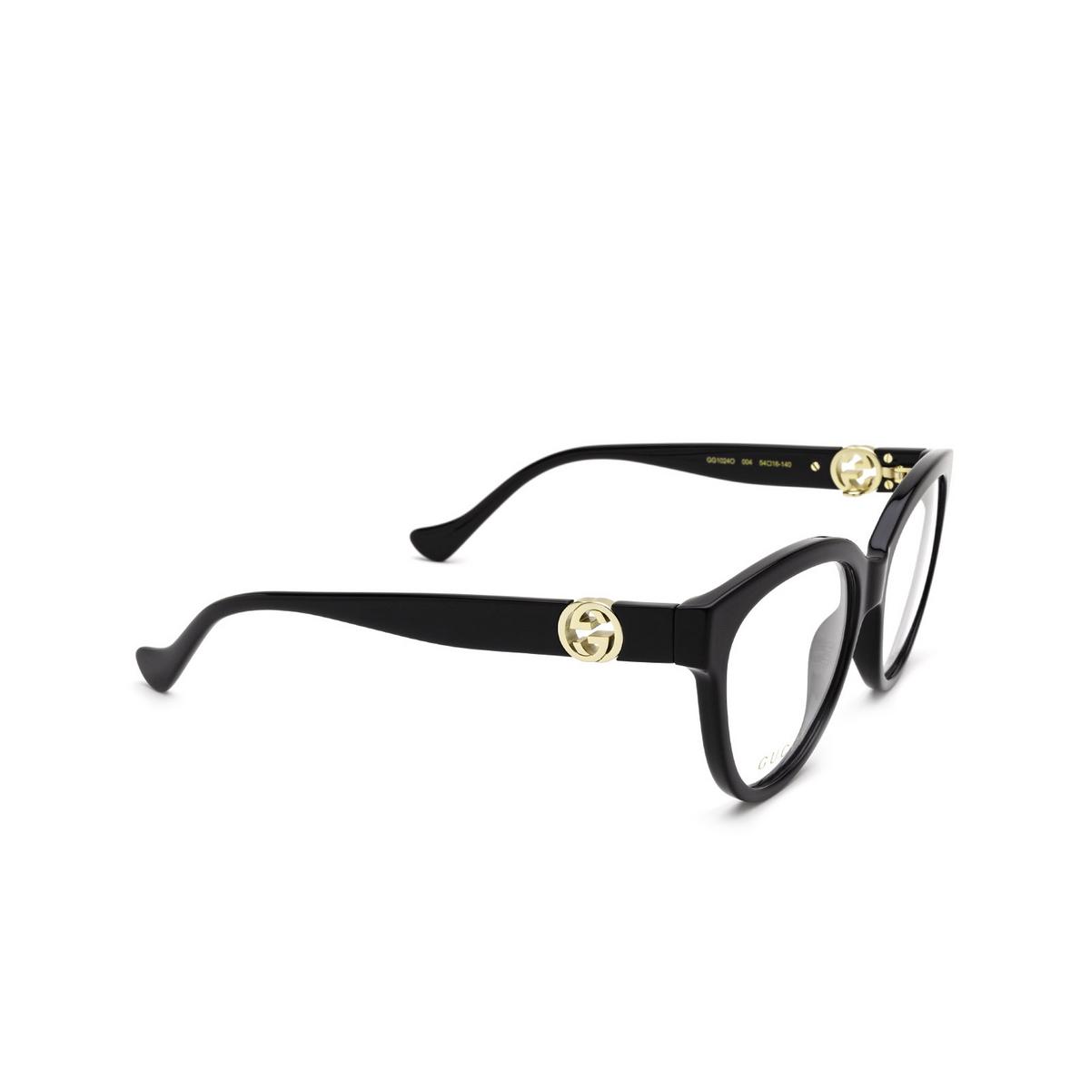 Gucci® Cat-eye Eyeglasses: GG1024O color Black 004 - three-quarters view.