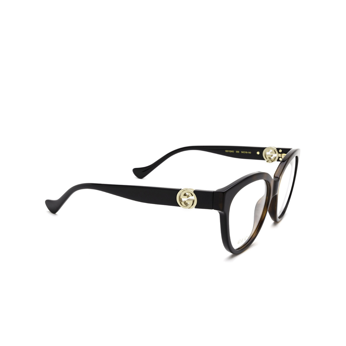 Gucci® Oval Eyeglasses: GG1024O color Black & Havana 005 - three-quarters view.