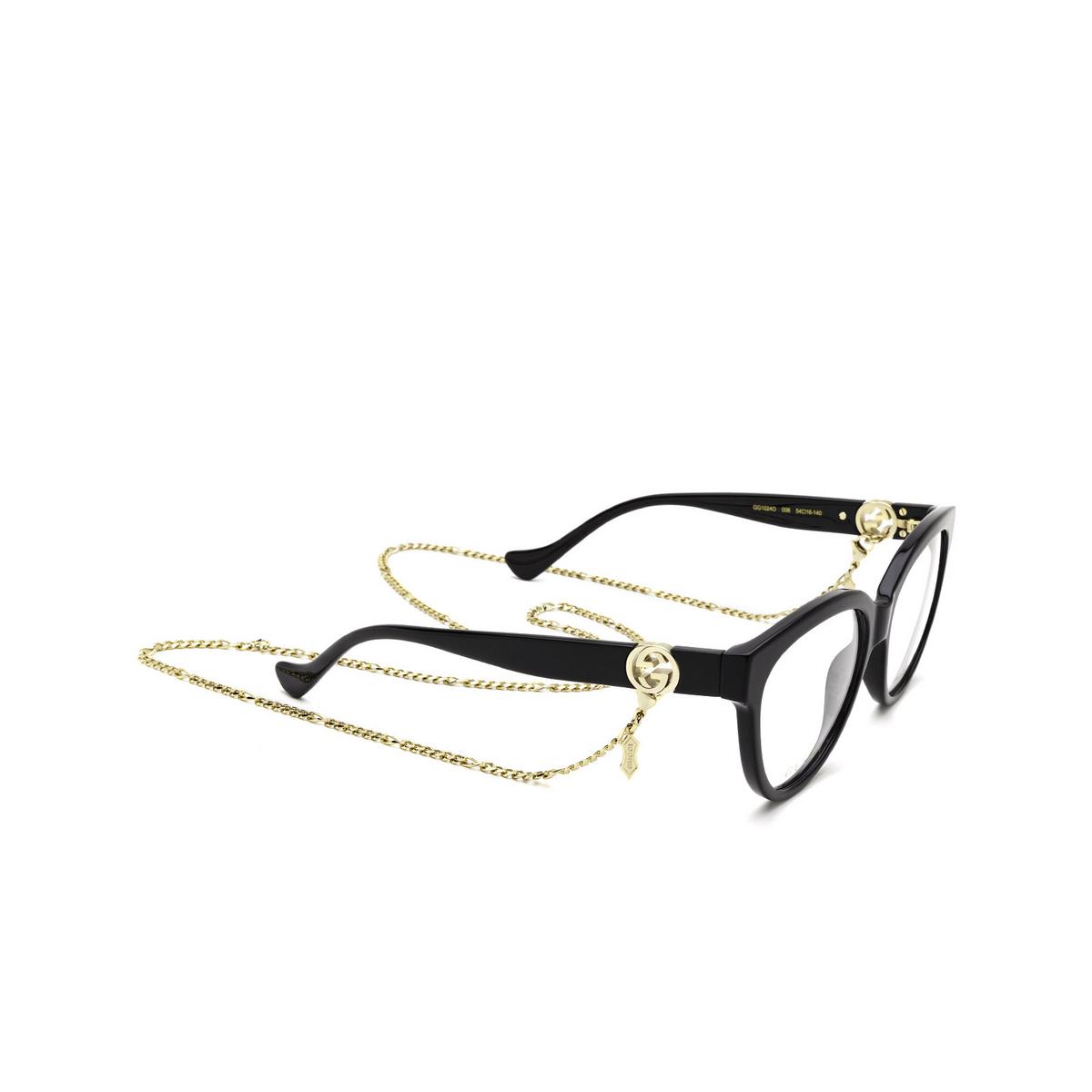 Gucci® Oval Eyeglasses: GG1024O color Black 006 - three-quarters view.
