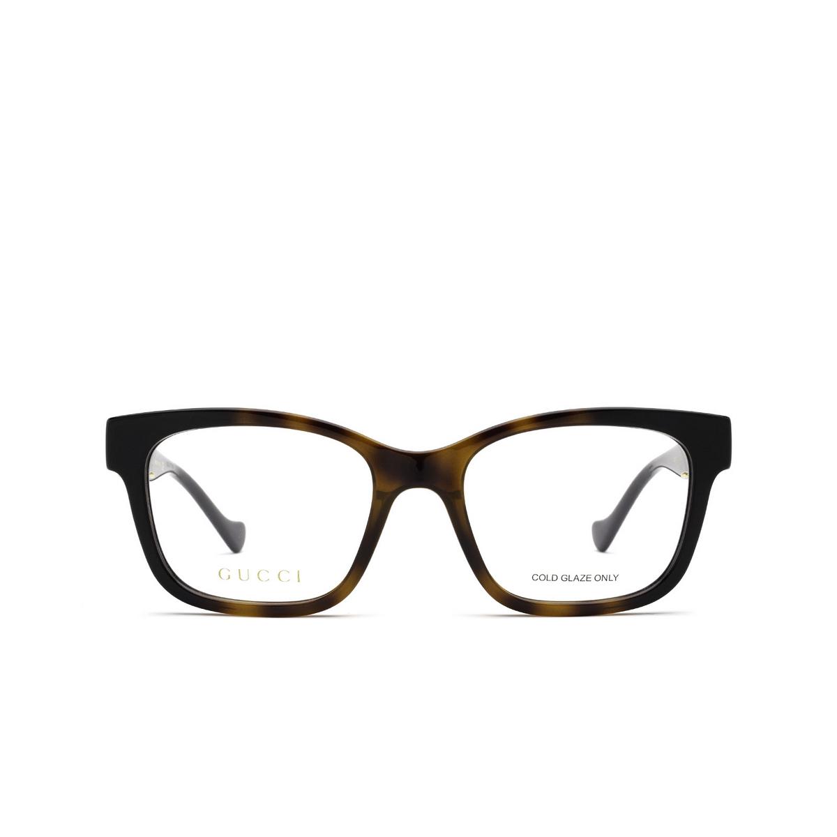 Gucci® Square Eyeglasses: GG1025O color Black & Havana 002 - front view.