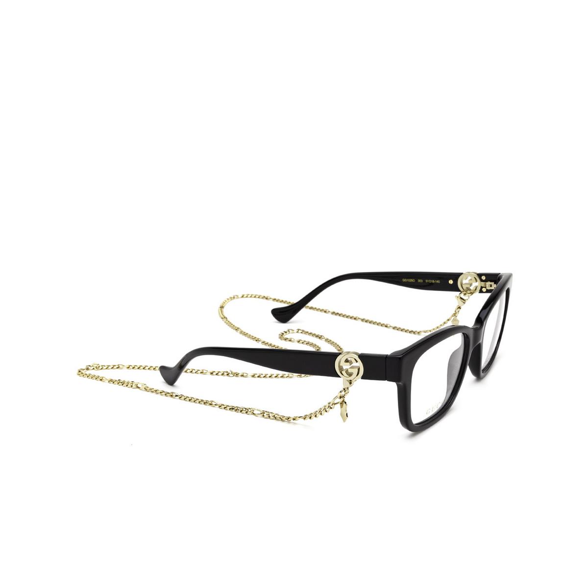 Gucci® Square Eyeglasses: GG1025O color Black 003 - three-quarters view.